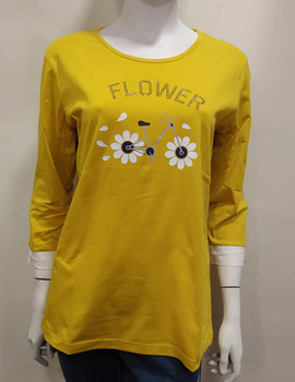 Camiseta mujer media manga cotton amarillo
