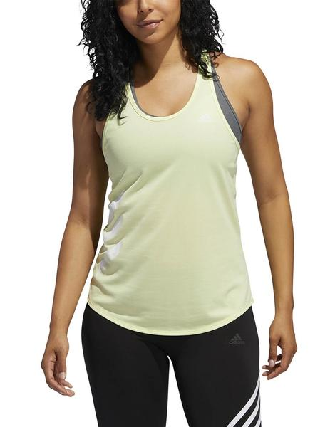 Camiseta Adidas Run It Tank 3S Verde Mujer